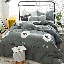GY&H Reine Baumwollreaktive Köper-Textilgewebe vier Sätze bequeme Hauptbettwäsche (Steppdeckeabdeckung × 1PC, Bett-Blatt × 1PC, Kissenbezug × 2PCS),B2,1.5-1.8 m bed