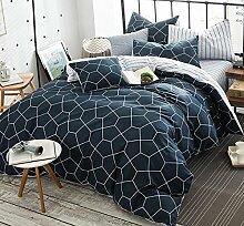 GY&H Reine Baumwollreaktive Köper-Textilgewebe vier Sätze bequeme Hauptbettwäsche (Steppdeckeabdeckung × 1PC, Bett-Blatt × 1PC, Kissenbezug × 2PCS),A6,1.5-1.8 m bed