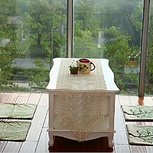GY&H Stickerei Spitze dekorative Tischwäsche, Läufer, maschinenwaschbar, Polyester Tischmatten Couchtisch Handtuch,Beige,16in*70in