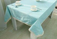 GY&H Tischdecke Pastoral Leinen hochwertiges Tischtuch arancione, blaue Dinnerparty, Sommer im Freien Picknick Tischdecke,blue, 90*90cm