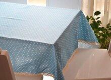 GY&H Verschiedene Größen von Leinen elegante Tischtuch Druck Mehrzweck Heimtextilien Tischdecken,blue, 140*160cm