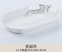 GYCZC Teller Porzellan Große Fischplatte Keramik