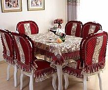 GYJZ Europäische Stuhl Sätze von hochwertigen Anzüge Staubtuch Tischdecken Stück 7pcs , red , 130*180