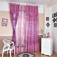 GYMNLJY Fenstervorhänge Lila-Stickerei-Spitze drapieren Thick Tür-Fenster-Vorhänge Home Decor Flächenvorhang (1 Platten) , purple , A