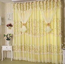 GYMNLJY Gardinen Polyester Nylon Spitze Drucken Gelb Rosa Rauschen reduziere Falte Blackout Fenster drapiert Fenster-Screening, yellow, 1