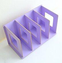 GYP Büro-Schreibtisch-Akten-Regal-Holz-Aufbewahrungsbehälter-Akten Rack-Zeitschriften-Regale kaufen ( Farbe : Lila )