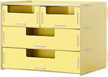 GYP Büro-Schreibtisch-Lager-Regal-Regal-Büro-Versorgungsmaterialien Kosmetische Aufbewahrungsbehälter-Akten Rack-Bücherregal kaufen ( Farbe : Gelb )