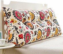 GYP Drucken Blumen Dreieckige Kissen, Kissen Taille Kissen Dimensional Rücken Zwei-Personen-Bett Kissen Sofa Rückenlehne weichen Beutel Bett großen Kissen Haus Taille Schutz Stuhl Schützen Sie die Rückseite, gefüllte Baumwolle 90-150cm kaufen ( Farbe : #5 , größe : 135CM )