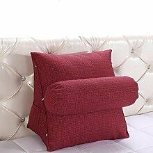 GYP Flachs-Dreieck-Rückenlehne Sofa-Kissen-Kissen-Schlafsaal-Raum 45 * 40 * 25CM, 55 * 50 * 25CM Bedside-Rückenlehne waschbare Bett-Versorgungsmaterialien Lenden-Büro-Ansatz-Kissen-Mittagessen-Bruch-Taillen-Kissen kaufen ( Farbe : #2 , größe : 55*50*25CM )