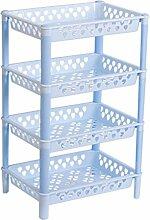 GYP Regal Badezimmer Mehrschicht-Kunststoff-Finishing-Regal Regal Storage Regal Regal Küche Waschtisch Frame Files Rack kaufen ( Farbe : Blau )