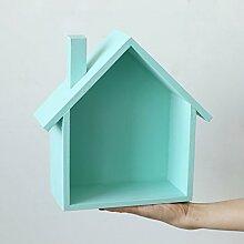 GYP Regal, Landhausstil Farbe Kleines Haus Schlafzimmer Zimmer Tür Auf Der Wand Lagerung Regal Wandbehang Dekorationen ( Farbe : 1 )