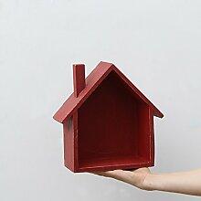 GYP Regal, Landhausstil Farbe Kleines Haus Schlafzimmer Zimmer Tür Auf Der Wand Lagerung Regal Wandbehang Dekorationen ( Farbe : 4 )