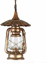 GYP Retro Kerosin Lampe Laterne im Freien Wasserdichte Kronleuchter, Outdoor Hof Korridor Kronleuchter Pavillon Gang Balkon Lampe Industrial Style Metal 24 * 66cm kaufen ( Farbe : #2 )