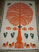 Gypsy Baumwolle Banjara Patchwork Stickerei Applikation Tannenbaum Form Tapisserie qmb104