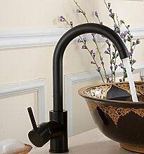 GZD All-Kupfer Küche Schwarz Bronze Lack Hot und Kaltwasser Swivel Waschbecken Wasserhahn
