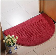 GZD Halbkreis Schlafzimmer Die Tür Teppich Halle Fußauflage Badezimmer Tür Wasseraufnahme Rutschfeste Matte Teppich , deep red , 50cm*80cm