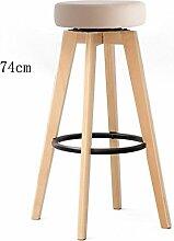 GZD Hocker High Hocker Retro Küche Hocker mit natürlichen Holz Beine Bar Hocker Baumwolle und PU Kissen Sitz Frühstück Bar, 360 Grad schwenkendes Design Hanf Fußpedal, Höhe 74cm / 65.5cm , 2