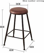 GZD Hocker Stuhl, Massivholz Sitzbein mit Retro-Metallhocker, Küchenhocker Counter Bar Tisch Sitzgelegenheit Frühstücksbar, Höhe 45 cm / 65 cm / 75 cm / 80 cm / 85 cm, H