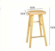 GZD Holz Bar Hocker Küche Frühstück mit Fußstütze 55cm / 65cm / 75cm Retro Küche Trapez Pedal & menschlichen Körper Ebene Design , 1 , wood
