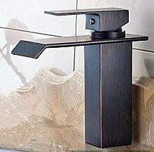 GZD Kupfer quadratischen Spray schwarz Bronze heiß und kalt Wasserfall Badezimmer Waschbecken Wasserhahn