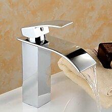 GZD Moderne Single Handle Wasserfall Waschbecken Wasserhahn alle Bronze