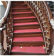 GZD Treppenmatten Sommer- Zuhause Eisseide Teppiche FußAuflage Massivholz Schrittmatten Flachs Rutschfeste Matte Freier Kleber Teppich 85cm*25cm , red