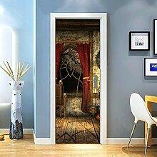 Gzjp Türaufkleber 3D Altes Schlafzimmer