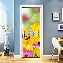 Gzjp Türaufkleber 3D Blume, Schmetterling