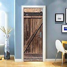 Gzjp Türaufkleber 3D Einfache Holztür