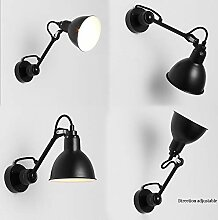 GZMUS Retro Schwarze Wandlampe Metall Verstellbare