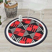 GZP Innenteppich Designer Teppich Geometrische Muster Runder Teppich Schlafzimmer Wohnzimmer Couchtisch Zimmer Runde Decke Computer Stuhl Bodenmatte Decke (Farbe : #5, größe : Round150cm)