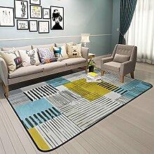 GZP Innenteppich Rechteckiger Teppich, geometrisch gestreifter Teppich Couchtisch Wohnzimmer Schlafzimmer voller großer Teppich Decke (Farbe : A, größe : 180*180cm)