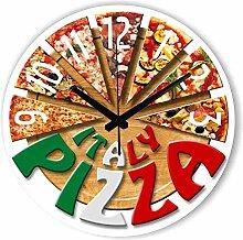 GZXYYY Stilvolle Pizza Küche verziert Wanduhr mit