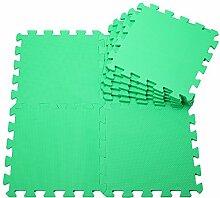 H Cadeau Bunt Puzzlematte Schaumstoff Puzzle Matte Kinder Spielteppich Spielmatte Baby krabbeln Boden Schlafzimmer Yoga Turnhalle 30*30*1cm 9Teile (Grün)