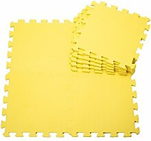 H Cadeau Bunt Puzzlematte Schaumstoff Puzzle Matte Kinder Spielteppich Spielmatte Baby krabbeln Boden Schlafzimmer Yoga Turnhalle 30*30*1cm 9Teile (Gelb)