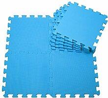 H Cadeau Bunt Puzzlematte Schaumstoff Puzzle Matte Kinder Spielteppich Spielmatte Baby krabbeln Boden Schlafzimmer Yoga Turnhalle 30*30*1cm 9Teile (Blau)