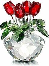 H&D Deko-Blumenstrauß aus Kristallglas rote Rosen
