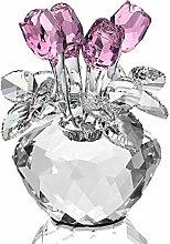 H&D Pink Kristall Glas Blumen rosa Rose Figur Klar