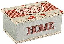 H & H Herz rot Blechdose rechteckig, 18x 12cm, Blech, Rot, 14x 9x 19cm
