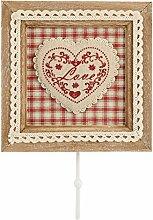 H+H Herz Rot Garderobenhaken, Holz, Rot, 20x