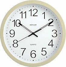H & H Wanduhr rund, Kunststoff, beige, 25cm