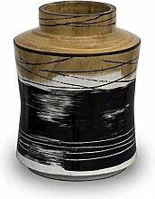 H HOMEPAINT handgefertigte Holzvase mit weißen,