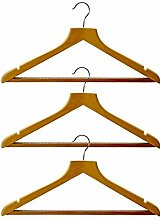 H & L Russel geformte Kleiderbügel mit rutschfesten Bar und Rock Kerben, beige, 3Stück