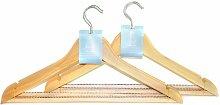 H L Russel &Holz Kleiderbügel für Anzüge, mit rutschfester Hosenstange, 2-er Set mit je 3 Anhängern