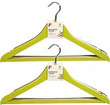 H & L Russel Kleiderbügel mit rutschfesten Bar Ahorn und Kerben, beige, 6Stück