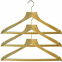 H & L Russel Kleiderbügel mit rutschfesten Bar poliert Buche Holz und Rock Kerben, beige, 3Stück