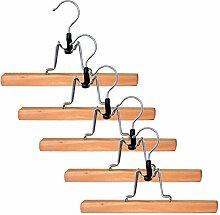 H & L Russel Kleiderbügel mit rutschfester Leiste und Hosen-Halter, mit silberfarbenem Aufhänger, Beige, 5Stück