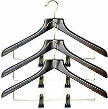 H & L Russel Kleiderbügel mit Walnuss-Finish geformte Kombination Verstellbarer Clip Bar, braun, 3Stück