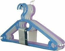 H & L Russel Kleiderbügel Plastik mit drehbaren Haken, 41 cm, 10er Set, Farben sortier