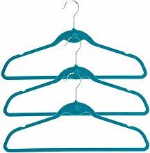 H & L Russel Kleiderbügel, Samt, Blaugrün Set von 15